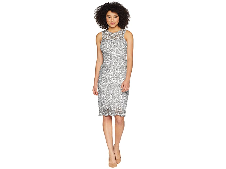 Calvin Klein Lace Sheath Dress CD8L54CY (White/Black) Women