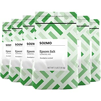 Amazon Brand - Solimo Epsom Salt Soaking Aid, Eucalyptus Scented, 3 Pound (Pack of 6)