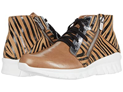 Naot Polaris (Arizona Tan Leather/Tan Zebra Suede/Silver Mirror Leather) Women
