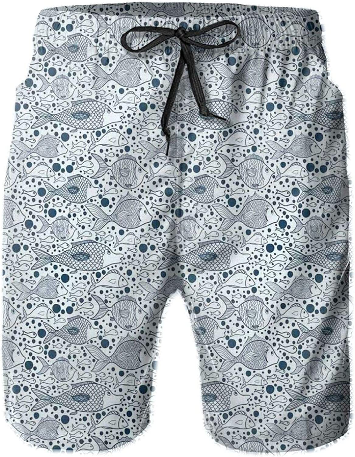 MUJAQ Underwater Life Theme Drawing with Big Little Fishes and Bubbles Drawstring Waist Beach Shorts for Men Swim Trucks Board Shorts with Mesh Lining,XL