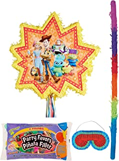 Party City Pull-String Toy Story 4 Pinata Supplies, Include a Pinata, a Pinata Stick, a Blindfold, Candy, and Toys
