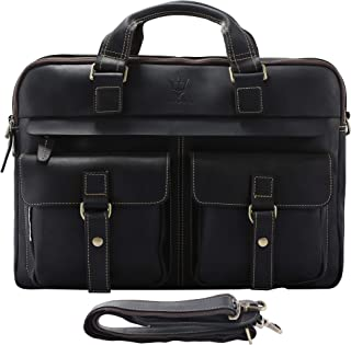 Mens Vintage Full Grain Leather Briefcases Fit 15.6 Inch Laptop Computer, Messenger Bag for Work and Business (Black)