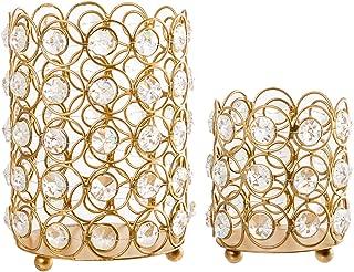 Crystal Candle Holders–Decorative Lantern Set of 2 – Pillar or Tealight Candle Holder – Gold Finish Metal Candle Holder with Crystals for Home or Party Decoration