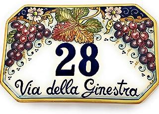 CERAMICHE D'ARTE PARRINI- ceramica italiana artistica, numero civico 23x15 personalizzato, decorazione uva, dipinto a mano...
