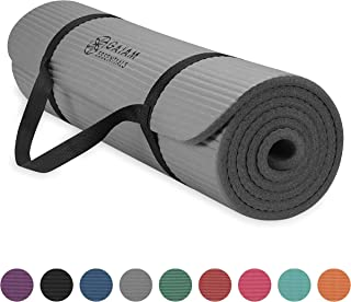 """Gaiam Essentials Thick Yoga Mat Fitness & Exercise Mat with Easy-Cinch Yoga Mat Carrier Strap, 72""""L x 24""""W x 2/5 Inch Thick"""