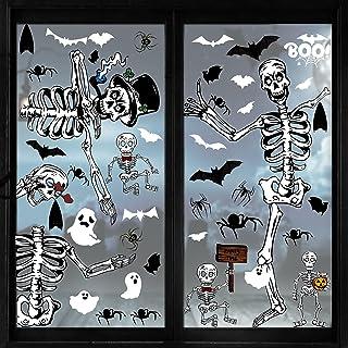 80 قطعة من ملصقات النوافذ لعيد القديسين، ملصقات نافذة للأشباح هيكل عظمي للهالووين، ملصقات نافذة على شكل أشباح وهياكل عظمية...