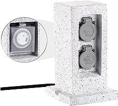 Enchufe exterior Royal Gardineer:Toma de corriente para jard/ín de 4 v/ías en imitaci/ón piedra; protecci/ón contra salpicaduras IP44.