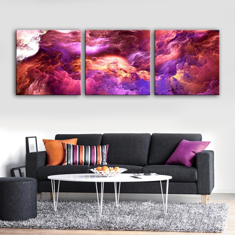 T&Q T&Qing 3PCS ausgedehnte Segeltuch-Kunst-purpurrote Wolken-Wunder-Dekoration-Malerei eingestellt, 40  40cm3pc B07KN37G8Q | Speichern