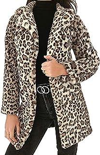 Abrigo de piel sintética para mujer, de leopardo, de manga larga, para mujer