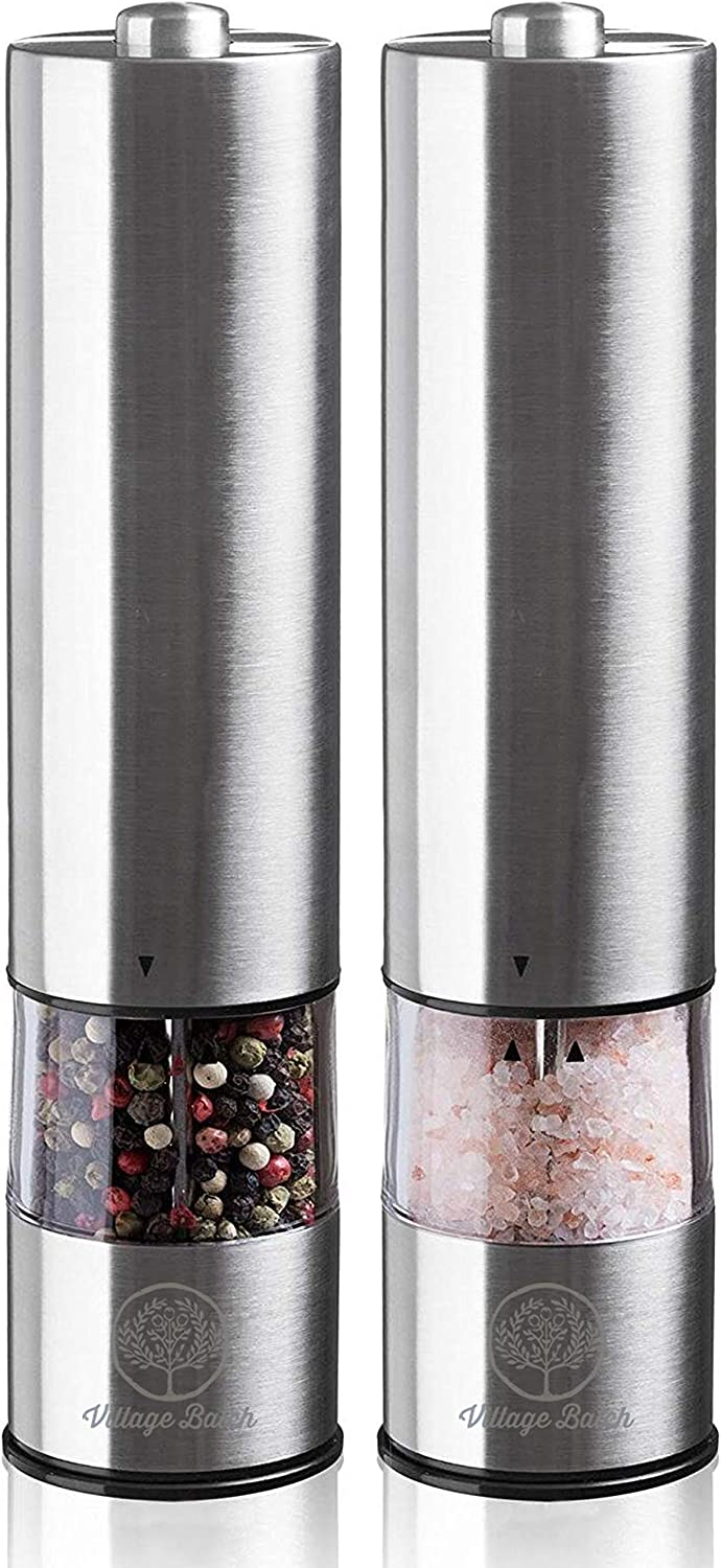 Miami Mall VILLAGE BATCH Stainless Steel Pepper Automatic Grinder Max 89% OFF Electroni