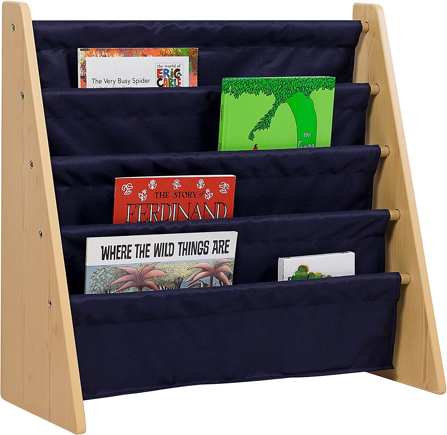 Wildkin Sling Bookshelf, Features Durable Fabric and Wood Design, Perfect for Encouraging Organization and Making Reading Easy and Fun for Young Readers - Natural with bluee