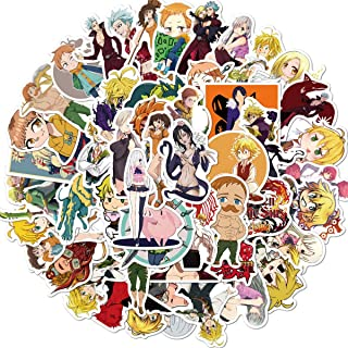 50 Pcs Seven Deadly Sins Anime Stickers Japanese Anime Laptop Stickers for Kids Teens Water Bottles Bicycle Skateboard Lug...