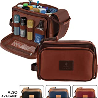 """Cruelty-Free Leather Travel Toiletry Bag/Dopp Kit by Pierre LaCroix   Hand-Stitched Using Premium PU Leather and YKK Zippers   Leak Proof   (11""""x7""""x7"""") (Hazelnut)"""