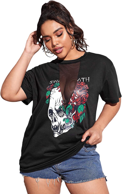 Romwe Women's Plus Size Skull Graphic Print Mesh Insert Halloween Summer T-Shirt Tunic Tops
