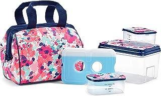"Fit & Fresh 902TG1389 Charlotte Lunch Bag Kit, 9"" x 6"" x 8"", Pink Floral Wash"