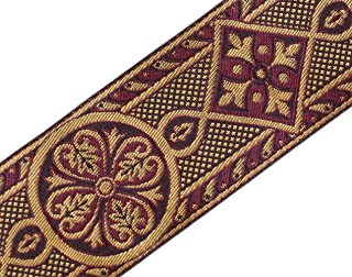 Wide Jacquard Chasuble Vestment Trim Burgundy & Gold 2 3/8