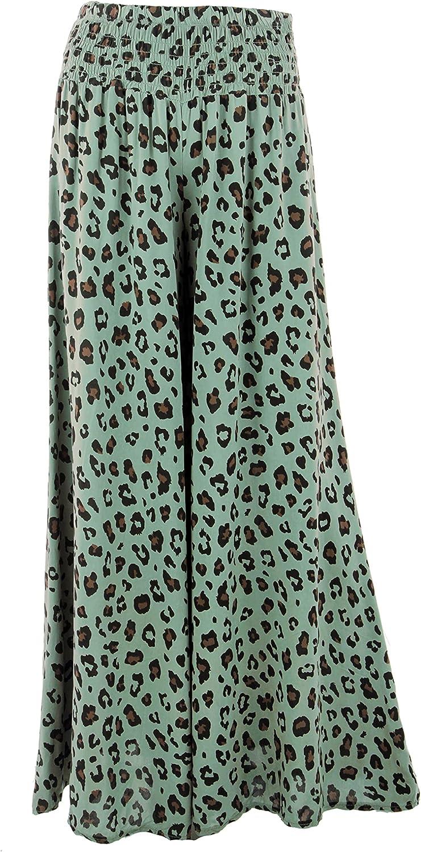 TEXTURE Ladies Womens Italian Lagenlook Leopard Print Elasticated Wide Leg Boho Viscose Long Palazzo Pants Trouser One Size