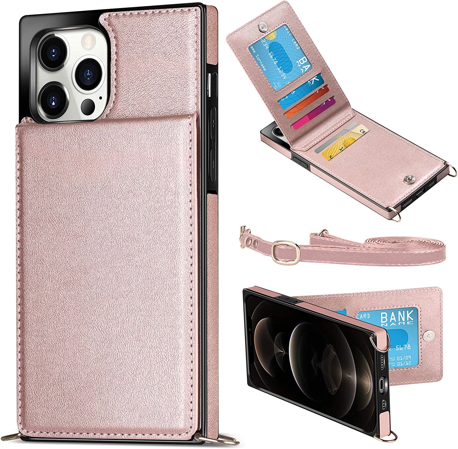 WESADN Compatible with iPhone 12 Pro Max Case Wallet Leather Girls Women Card Holder Slot Pocket Kickstand Case with Crossbody Strap Lanyard Slim Protective Magnetic Closure Purse Case Rose Gold