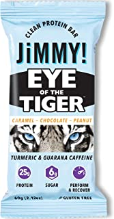 Jimmy! Boosted Clean Protein Bars, Eye of The Tiger, Caramel Chocolate Peanut Flavor, 25g Protein, Caffeinated Postworkout Bar with Turmeric, 12 Count