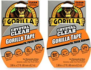 """Gorilla Crystal Clear Duct Tape, 1.88"""" x 9 yd, Clear, (Pack of 2)"""