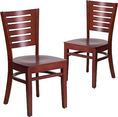 Flash Furniture 2 Pk. Darby Series Slat Back Mahogany Wood Restaurant Chair