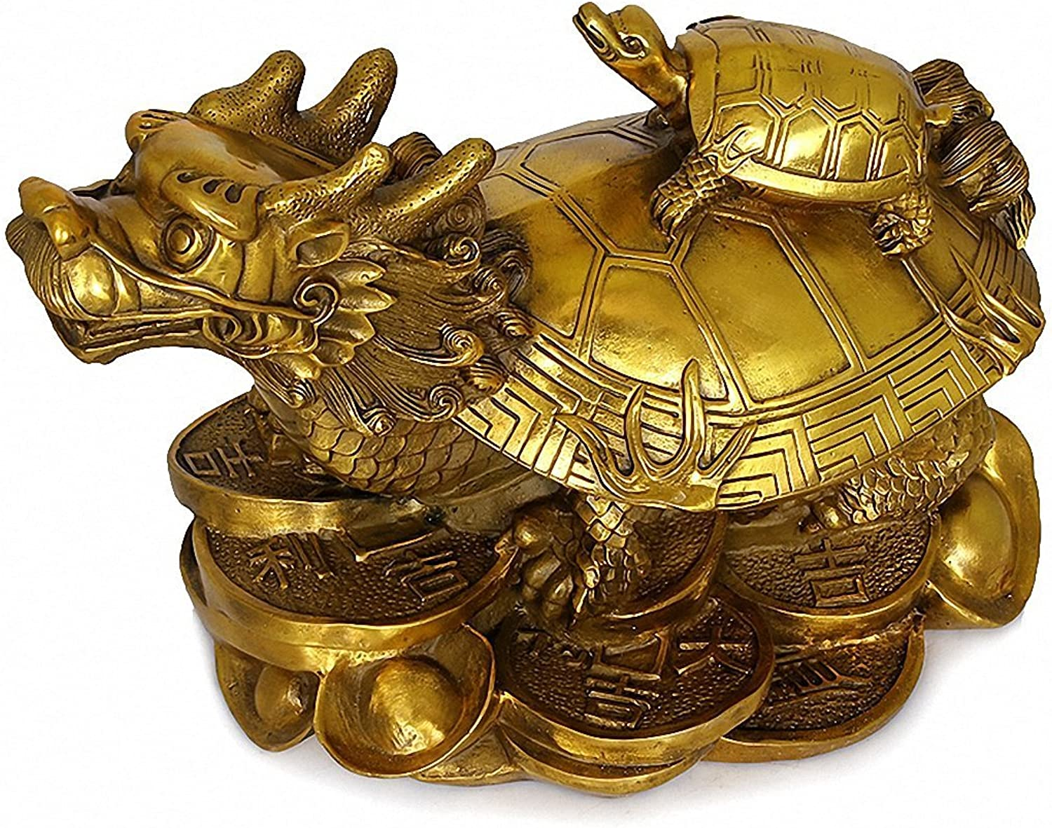 Wenmily Feng Shui Wealth Prosperity Brass Dragon Turtle Statue + Set of 10 Lucky Charm Ancient Coins on Red String,Best Housewarming Congratulatory Gift,Feng Shui Decor