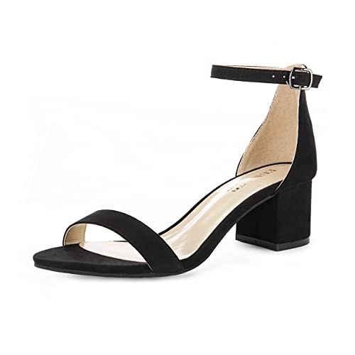 0013d2a3db0 Eunicer Women s Single Band Classic Chunky Block Low Heel Sandals with Ankle  Strap Dress Shoes