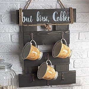 HOMEISJOY Premium Coffee Cup Holder Wall Mounted, Rustic Coffee Mug Holder Wall Mounted, Wall Mug Rack for Coffee Bar Decor, Coffee Cup Rack with 6 Coffee Cup Hooks (Rustic-Brown)
