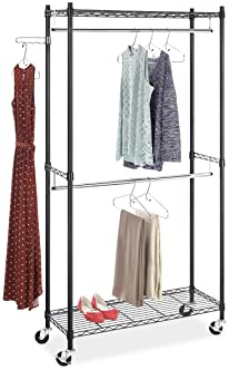 Whitmor Supreme Double Rod Garment Rack Rolling Clothes Organizer - Black with Chrome