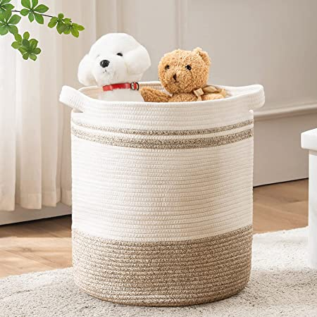 """TECHMILLY Cotton Rope Basket Large Woven Laundry Hamper(16""""x18"""", White/Brown) with Handles for Bathroom, Bedroom, Living Room and College Dorm"""