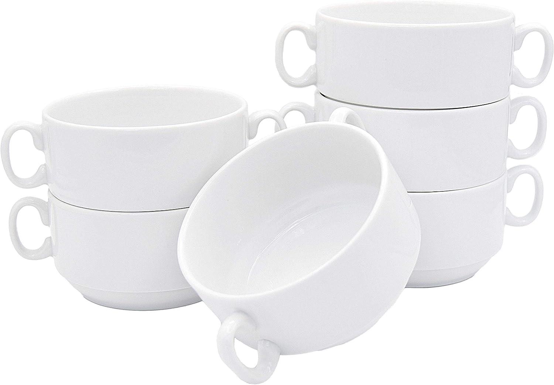 Juego de 6 tazas de sopa de 300 ml con asa, de porcelana auténtica, cuencos para sopa (vajilla para gastronomía y hogar).