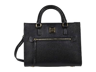 Dooney & Bourke Saffiano Mini Zip Tote (Black) Handbags