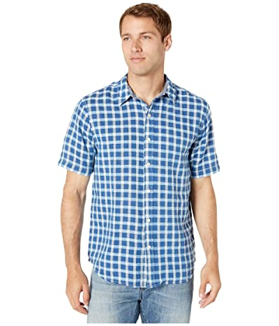 True Grit Salt Creek Checks Short Sleeve Shirt (Indigo/Turquoise) Men