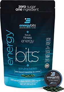 ENERGYbits Pure Spirulina Tablets - Bag of 1,000 Tablets (250mg per Tablet) - Non-GMO, Non-Irradiated, Blue Green Algae - ...