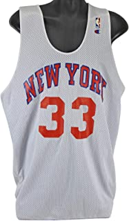 9e1c60073 Knicks Patrick Ewing Practice Worn Blue   White Reversible Jersey Grey  Flannel - NBA Game Used
