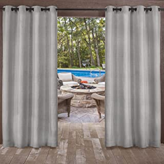Exclusive Home Curtains Biscayne Indoor/Outdoor Two Tone Textured Window Curtain Panel Pair with Grommet Top, 54x96, Silve...