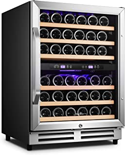 Karcassin 24 inch Wine Cooler Refrigerator – Compressor Wine Bottle Chiller – 2 Compartment – Dual Temp Zones for Red & Wh...