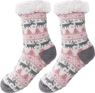 ISIYINER, Calcetines Antideslizantes Mujer Invierno Gruesos Lana Calcetines Térmicos de Piso Antideslizantes Calcetines de Estar para Mujeres Chicas Regalo de Navidad Interior, Talla Unica