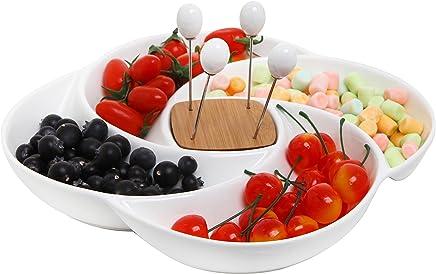 Preisvergleich für Deko Keramik weiß für Antipasti Servierplatte Tablett mit Food Picks und Holz Halter