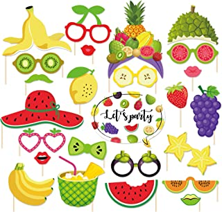 CC HOME 25Ct Summer Party Decoration ,Hawaii Themed Summer Two-tti Frutti Birthday Party Photo Booth Props,Tropical Fruit Party Watermelon and Pineapples Party Decorations,Party Favor for Summer Hawaiian Luau Beach Supplies