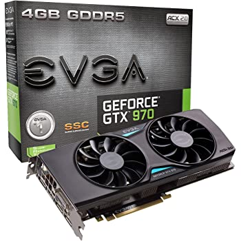EVGA GeForce GTX 970 4GB SSC Gaming ACX 2.0+ Cooling Graphics Card (04G-P4-3975-KR)