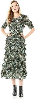 Rebecca Taylor Women's Short Sleeve Animal Print Ruffle Midi Length Dress