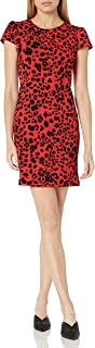 Betsey Johnson Womens FQ05W24 Sheath Dress with V Back Short Sleeve Casual Dress - red