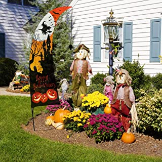 QSUM Feather Flag and Pole Kit for Halloween Celebration Party Garden and Yard Decorations