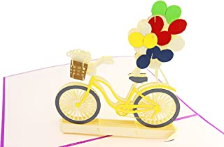 PopLife Bicycle & Balloons, Springtime 3D Pop Up Greeting Card for All Occasions - Mother's Day, Fathers Day, Bike Card, Happy Birthday, Get Well - Thank You, Wedding, Baby Shower Card - Folds Flat fo