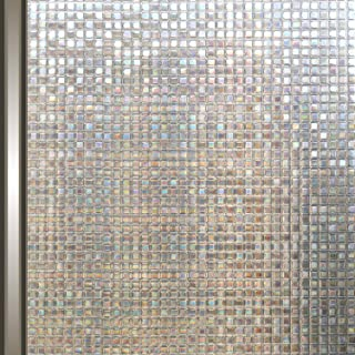 Tubin 窓用フィルム めかくしシート 窓 目隠しシート UVカット 断熱 遮光 結露防止 水で接着 貼り直し可能 (モザイク, 90*200cm)