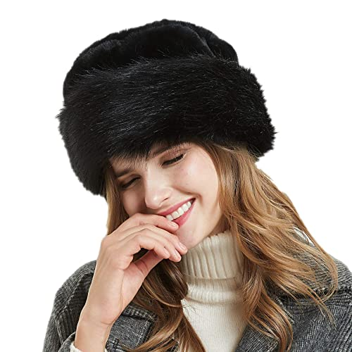 Soul Young Women s Leopard Faux Fur Hat with Fleece and Elastic for Winter ce6de387ac3