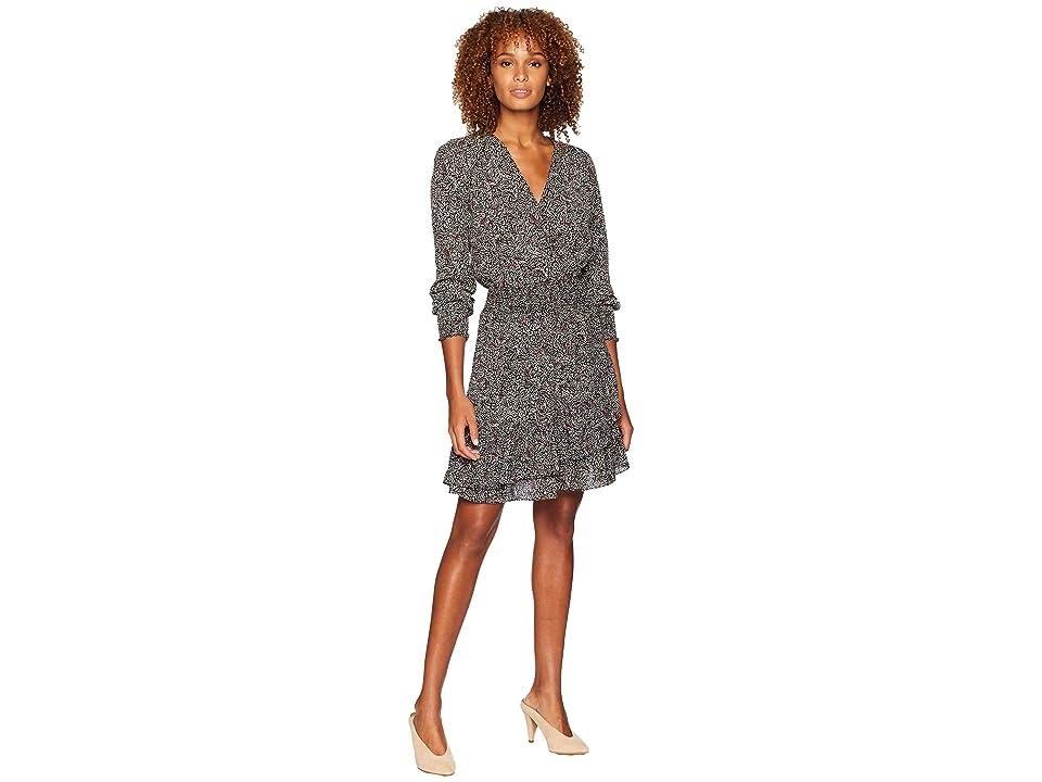 MICHAEL Michael Kors Boho Block Ruffle Dress (Black/Maroon) Women