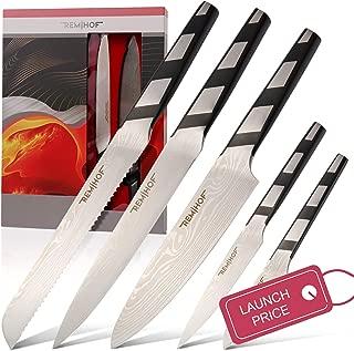 REMIHOF Premium 5pc Knife Set for Kitchen. Super Sharp Stainless Blades. 5 High Carbon Stainless Steel Knives Starter Gift Set