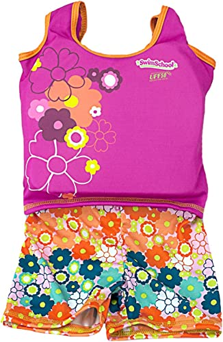 Aqua Leisure ET9136L Girls 1 pc swim trainer, floral print shorts, printed top, with back zipper - L Toy by Aqua Leisure